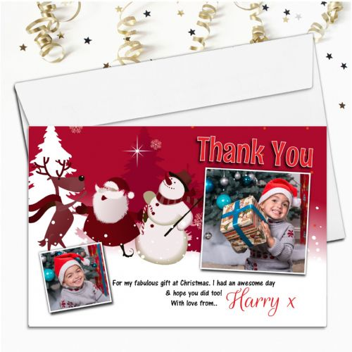 10 Personalised Christmas Xmas Gift Thank you PHOTO Cards Notes N58
